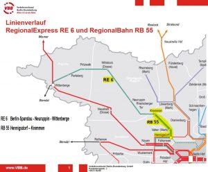 RE6, RB55 Linienverlauf