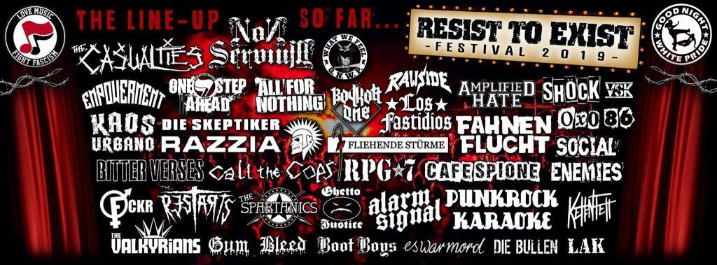 Liste der bestätigten Bands für 2019